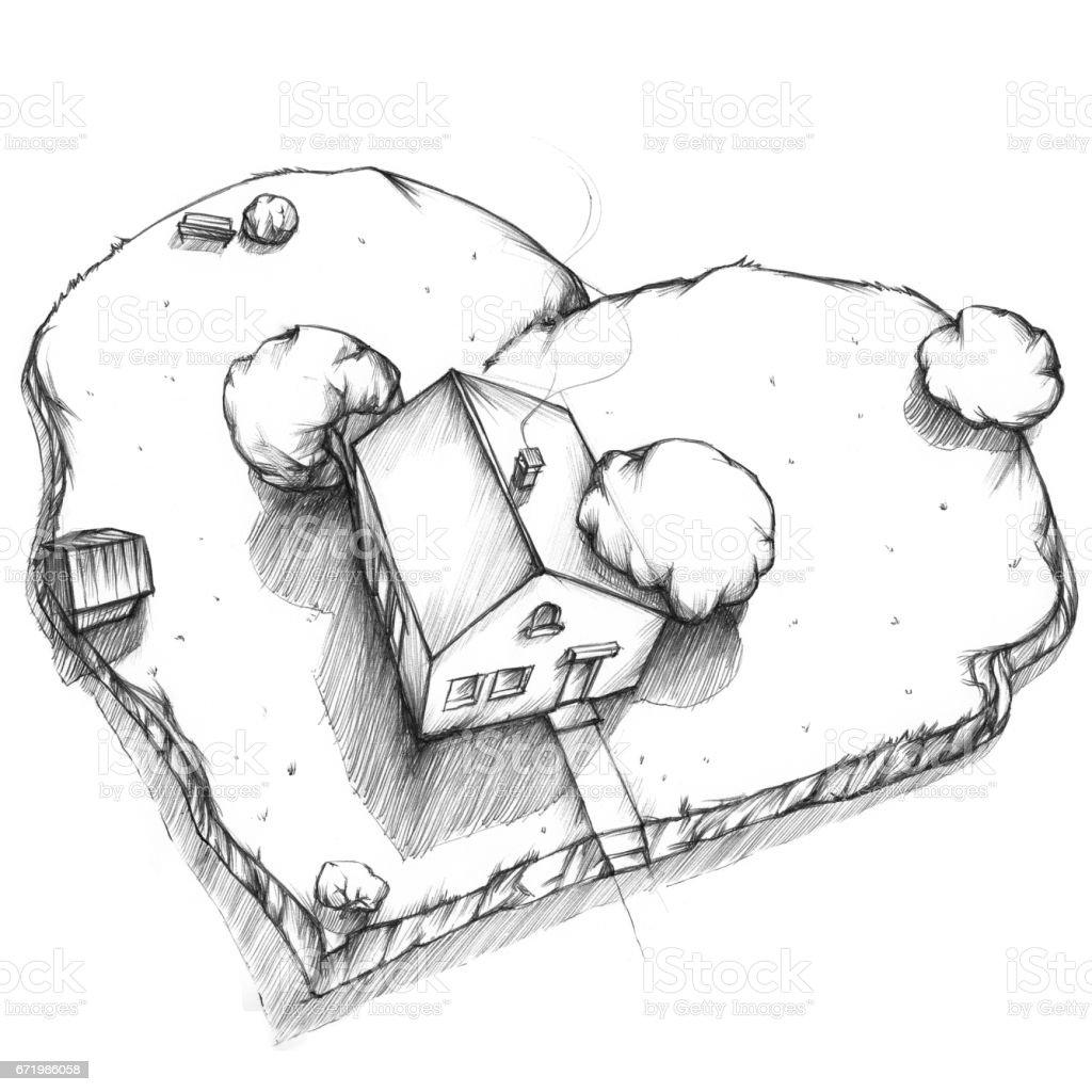 Dream house from the bird perspective – Vektorgrafik