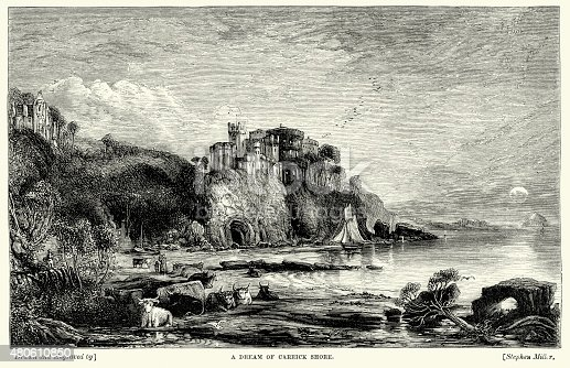 Vintage engraving of Dream of Carrick Shore. 1869