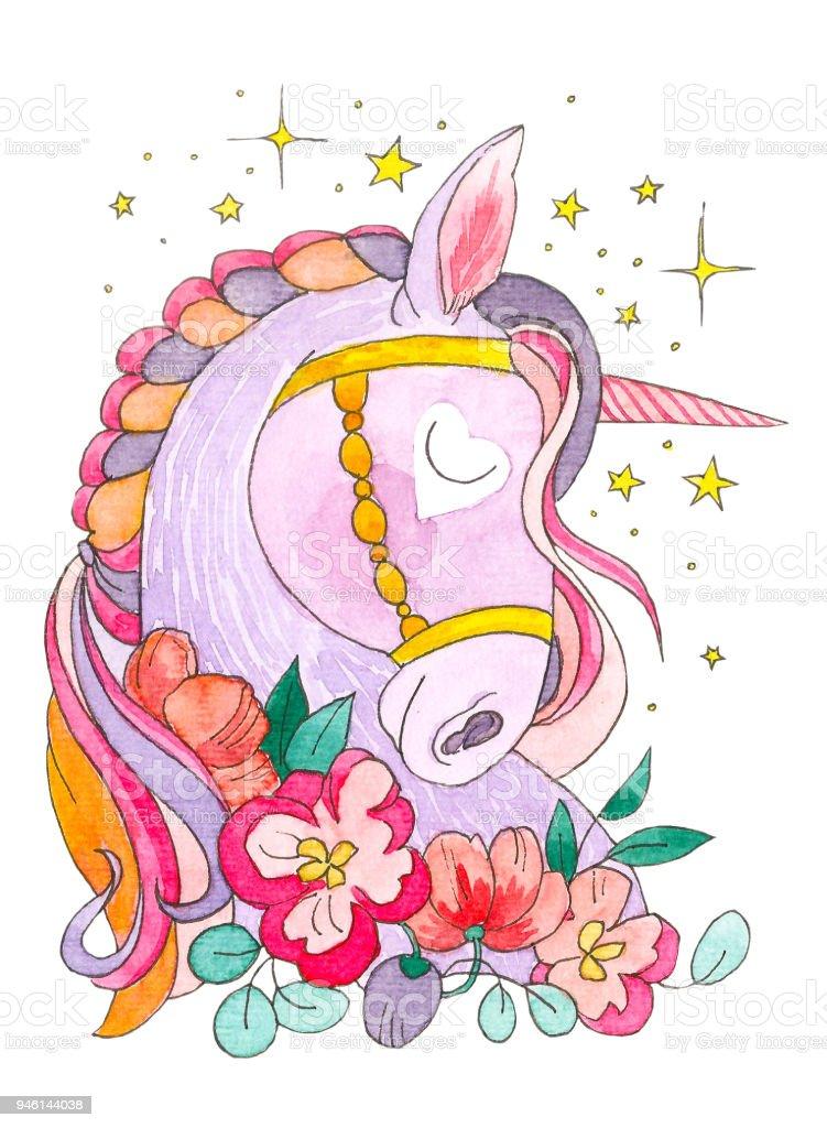 Traum Des Einhorns Die Sterne Und Blumen Um Magisches Tier Aquarell