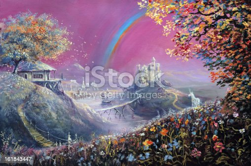 The world of fairy tales. Painting, canvas, oil, created and painted by the photographer.