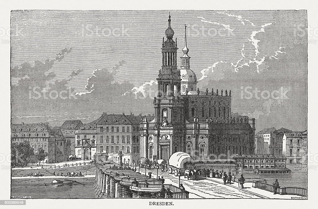 Dresden in Saxony, Germany, view to the Cathedral, published 1877 vector art illustration
