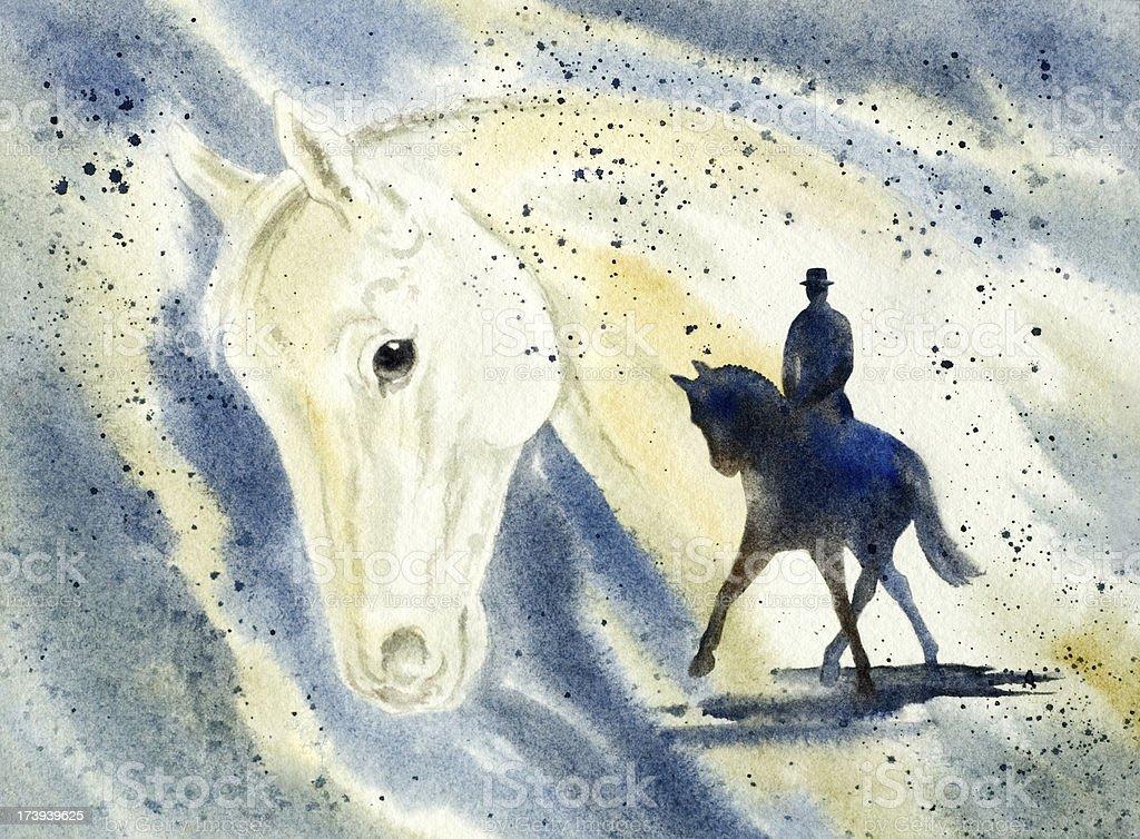 Dressage Horse And Rider vector art illustration