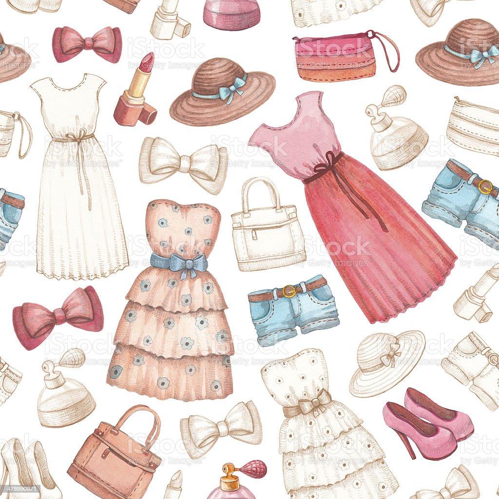 Ilustración de Vestidos Y Lápiz De Dibujo Y Accesorios Patrón ...