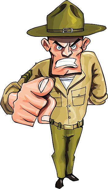 stockillustraties, clipart, cartoons en iconen met drill sergeant - in de camera kijken