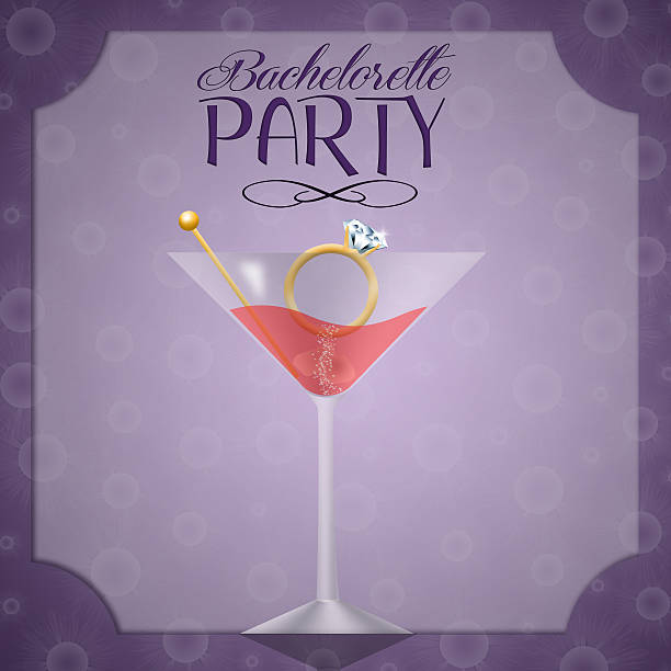 drink with ring for bachelorette party - bachelorette party stock illustrations, clip art, cartoons, & icons