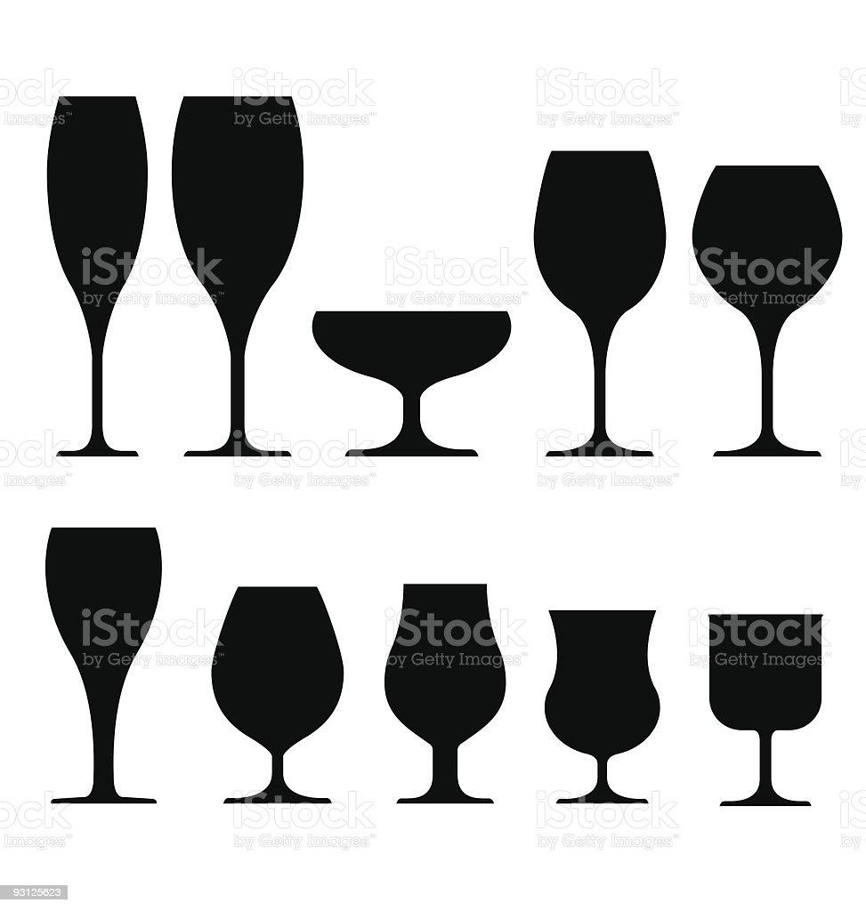 Drinking glasses for wine, champagne, and liquor vector art illustration