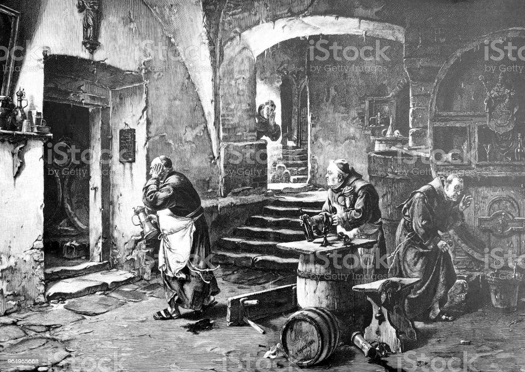 Monjes beber limpiar rápidamente porque el abad viene - ilustración de arte vectorial