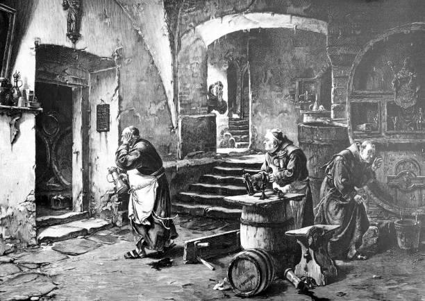ilustraciones, imágenes clip art, dibujos animados e iconos de stock de monjes beber limpiar rápidamente porque el abad viene - hermano