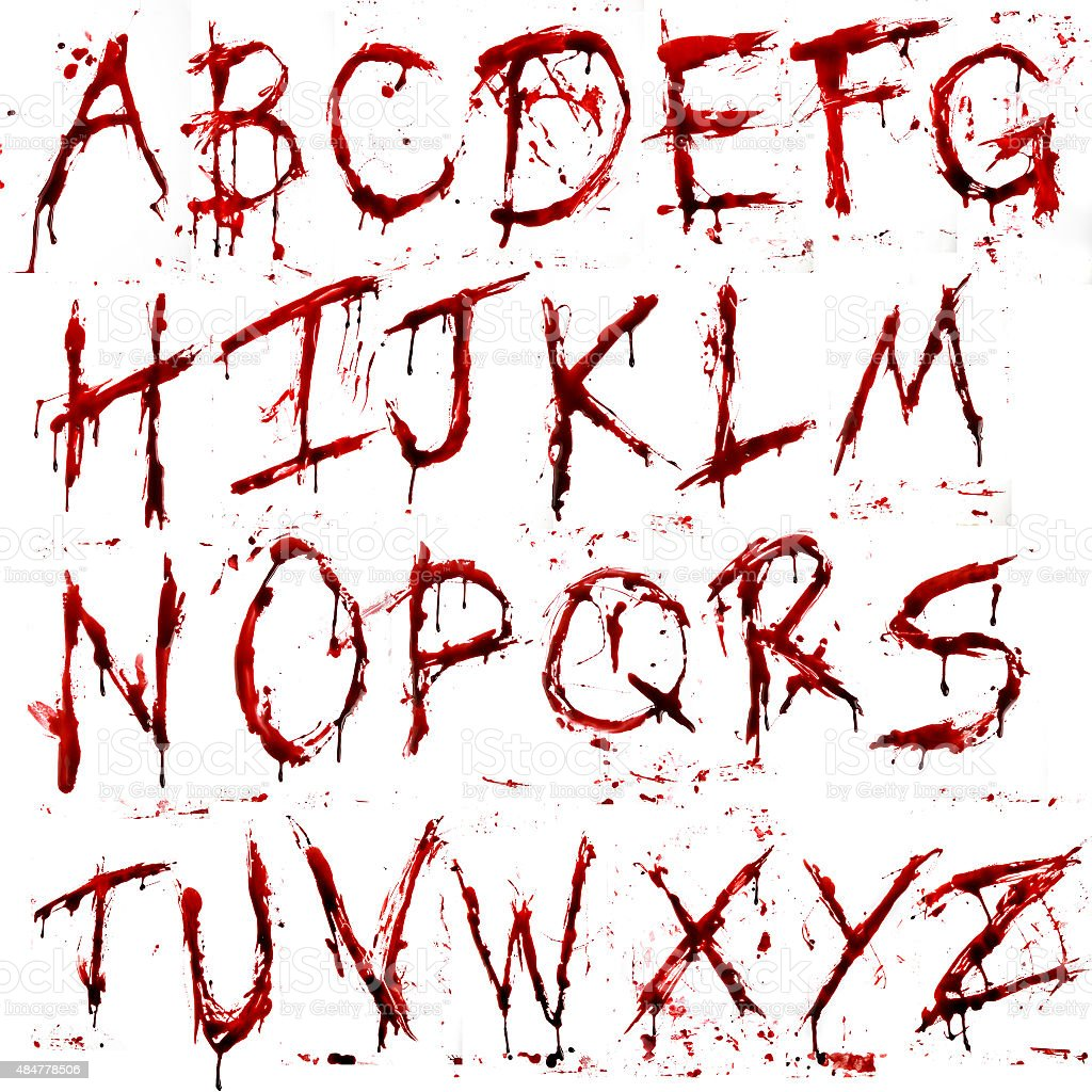 Dripping Bloody Alphabet (A-Z) vector art illustration