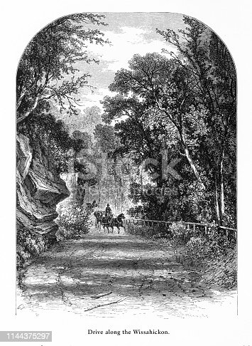 Very Rare, Beautifully Illustrated Antique Engraving of Drive along the Wissahickon, Philadelphia, Pennsylvania, United States, American Victorian Engraving, 1872.