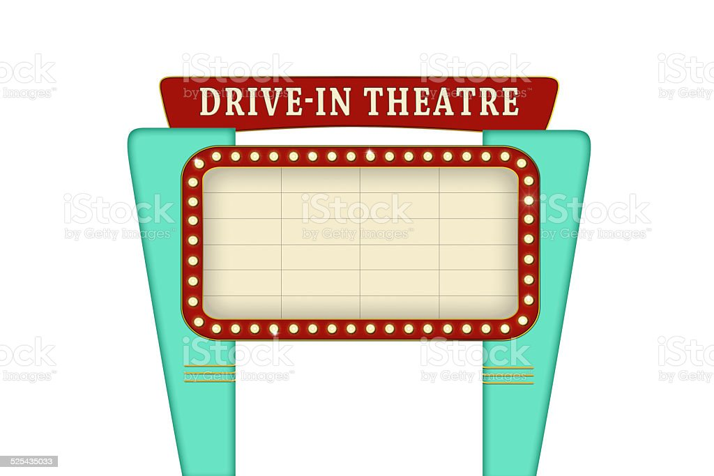 Drive in theater sign. vector art illustration