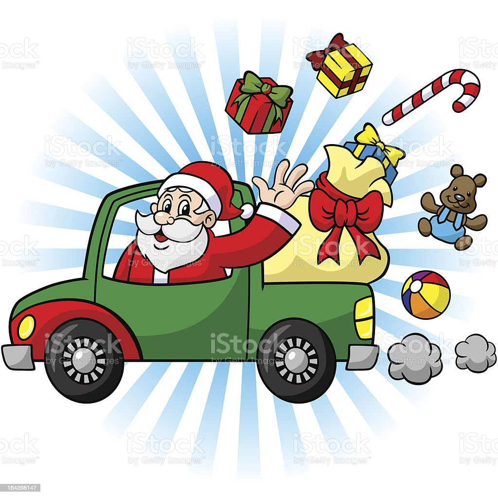 Driving Santa Claus Truck With Gifts royalty-free stock vector art