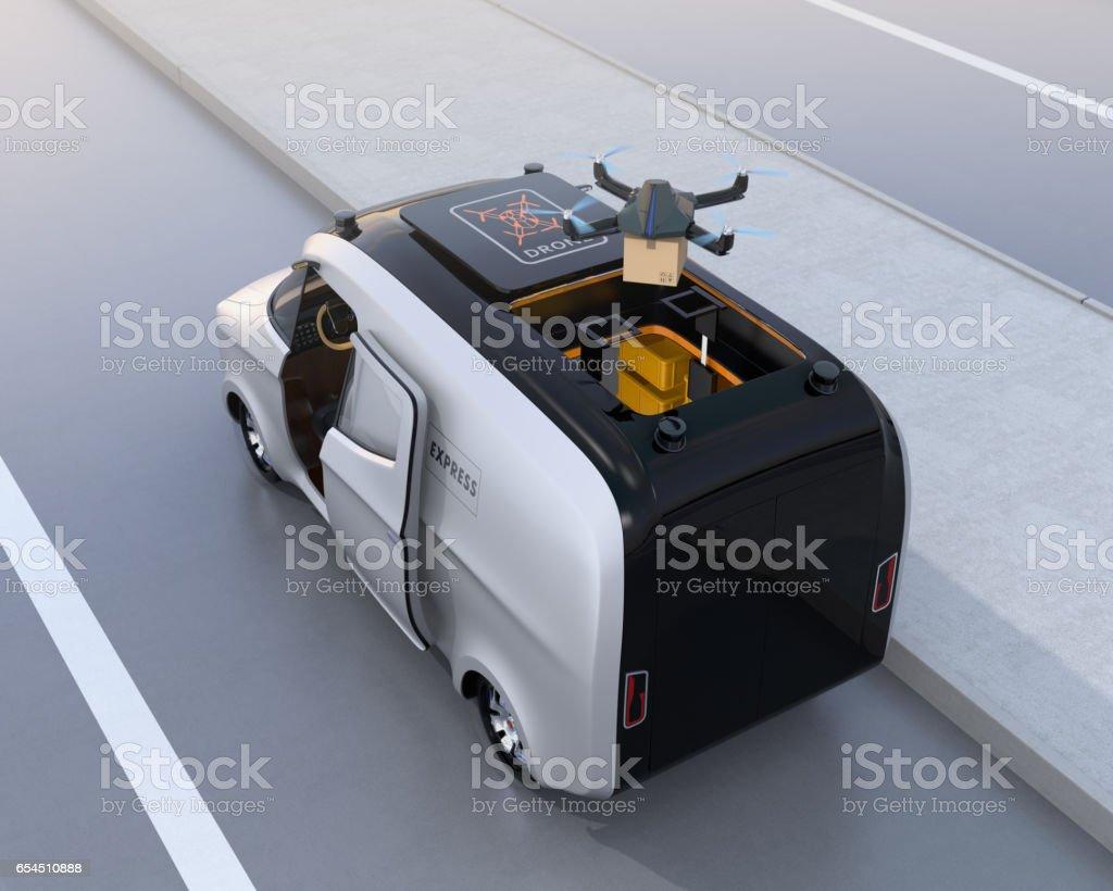 Drone taking off from van for delivering cardboard parcel vector art illustration