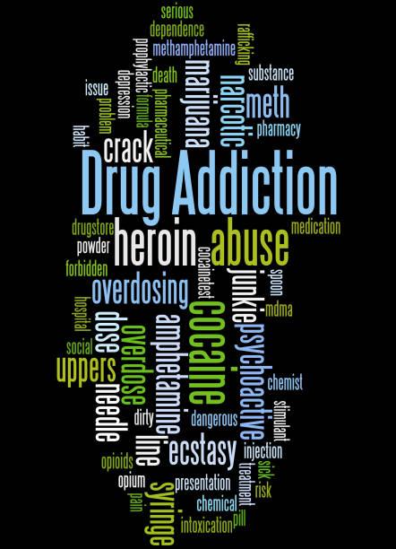 stockillustraties, clipart, cartoons en iconen met drugsverslaving, word cloud concept 5 - amfetamine