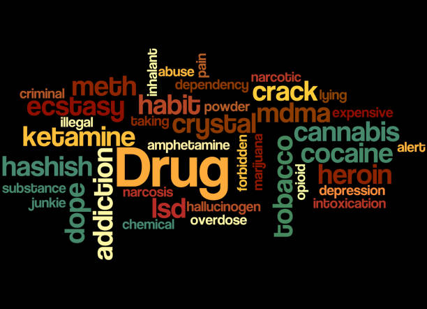 stockillustraties, clipart, cartoons en iconen met medicijnnamen, word cloud concept 7 - amfetamine