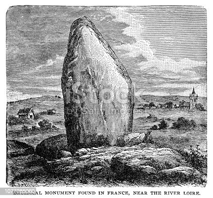 Druidical monument - Scanned 1890 Engraving