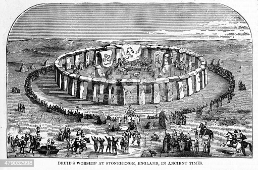 Rare and beautifully executed Engraved illustration of Druids Worshiping at Stonehenge, England in Ancient Times Engraving from The Popular Pictorial Bible, Containing the Old and New Testaments, Published in 1862. Copyright has expired on this artwork. Digitally restored.