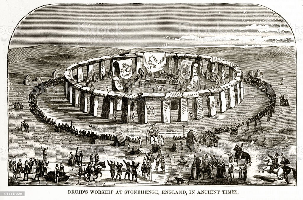 Druids Worshiping at Stonehenge, England in Ancient Times Engraving vector art illustration