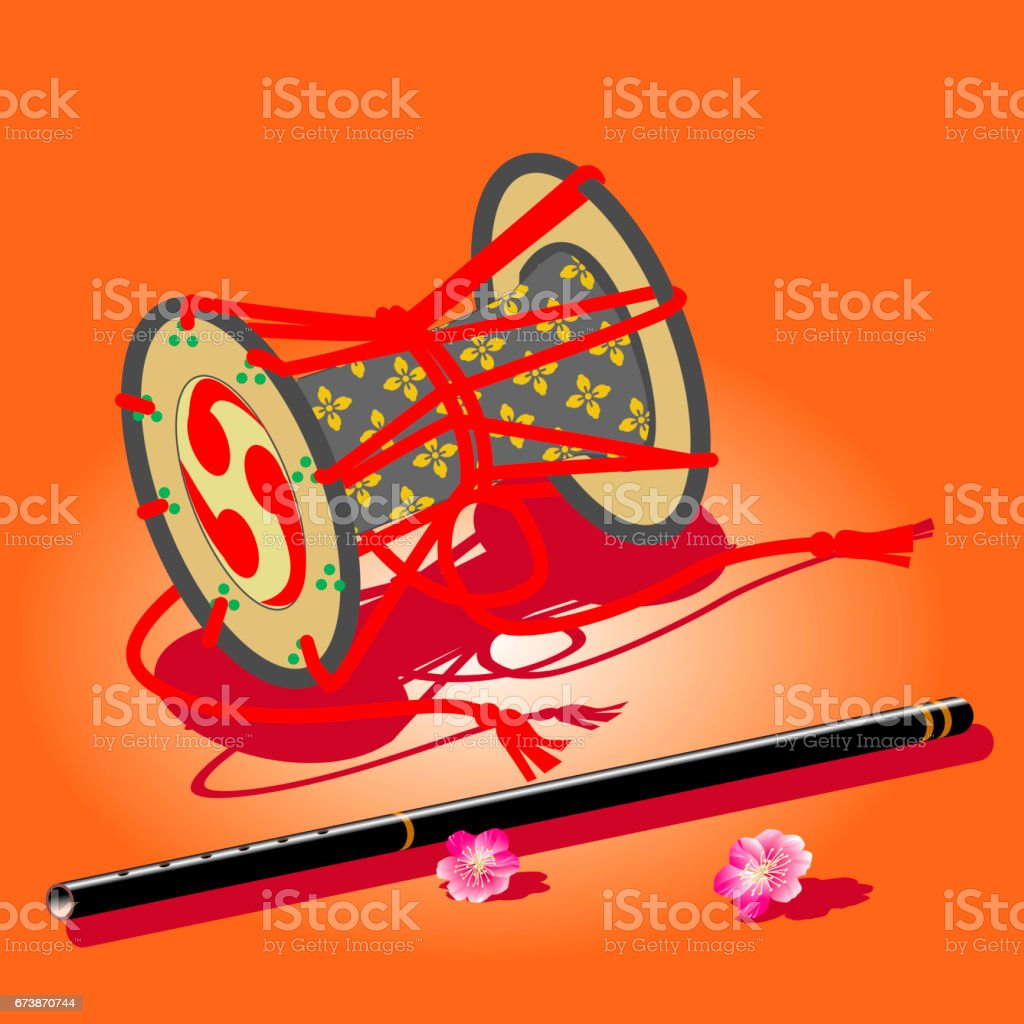 Drum and whistle vector art illustration