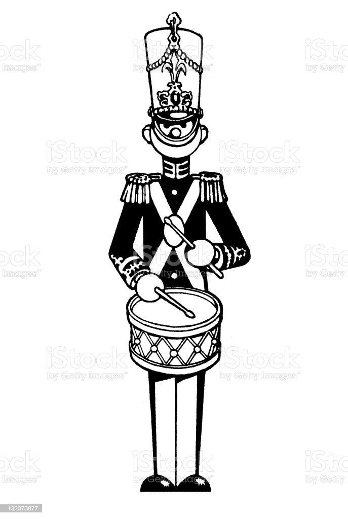 Drumming Toy Soldier vector art illustration