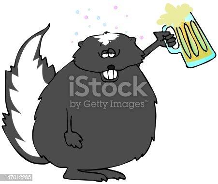 This illustration depicts a drunk skunk holding up a mug of beer.