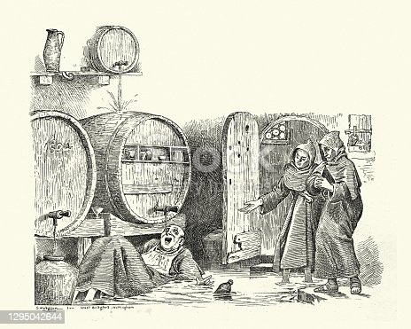 istock Drunk monk drinking beer or wine from the barrel, Comic sketch 1295042644
