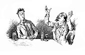 Drunken man raises his hands to the top, thanking him for a bottle of wine - 1896