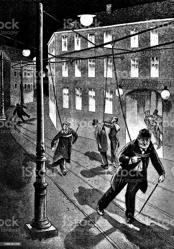 Drunken men leave the bar and are pinned to the safety lines - 1896 vector art illustration