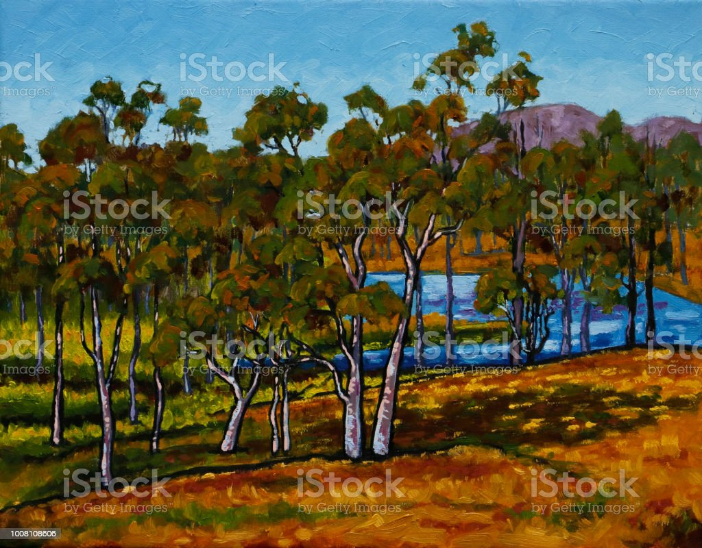 Dry Australian Countryside with Dam and Lush Grasses Oil Painting vector art illustration