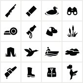 Duck hunting icons. All white strokes/shapes are cut from the icons and merged allowing background to show through.