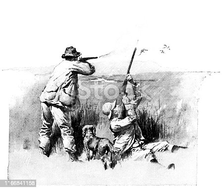 Duck hunting in North Dakota, USA. Vintage etching circa late 19th century.