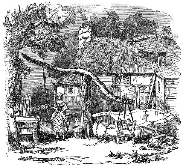 Ducking chair at a village well An engraved illustration of  a cucking chair also known as a ducking chair at a village well from a Victorian book dated 1883 that is no longer in copyright ducking stock illustrations