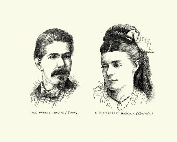 stockillustraties, clipart, cartoons en iconen met dudley thomas (tenor) en miss margaret hancock (contralto), victoriaanse zangers - tenor
