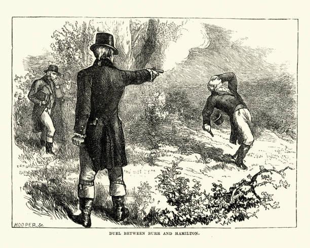 Duel between Aaron Burr and Alexander Hamilton vector art illustration