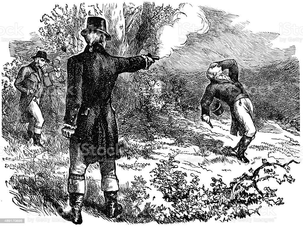 Duel between Burr and Hamilton vector art illustration