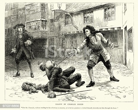 Vintage engraving of a Scene from the story Dorothy Forster by Walter Besant.  For Mr Fenwick, without waiting for his adversary to recover, or to be in a position to defend himself, instantly ran him through the heart. Drawn by Charles Green.