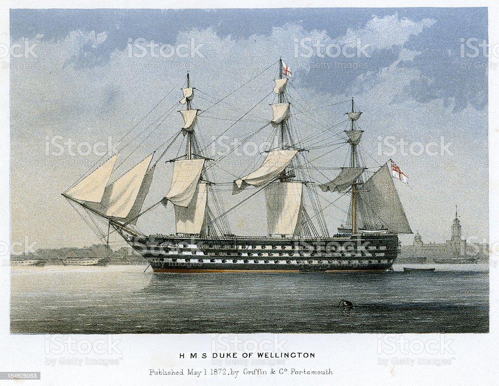 HMS Duke of Wellington vector art illustration