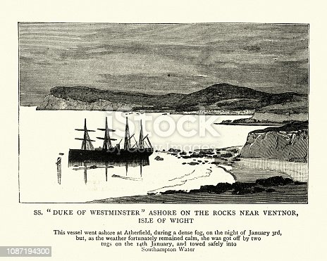 Vintage engraving of SS Duke of Westminster stranded on rocks, near Ventnor, Isle of Wight.  The Graphic 1884