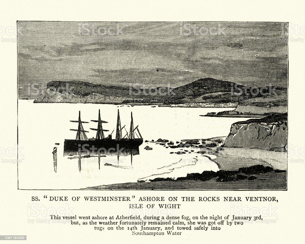 SS Duke of Westminster stranded on rocks, Isle of Wight vector art illustration