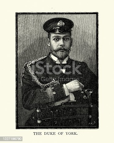 Vintage illustration of Duke of York, later King George V. Born during the reign of his grandmother Queen Victoria, George was third in the line of succession behind his father, Prince Albert Edward, and his own elder brother, Prince Albert Victor. From 1877 to 1891, George served in the Royal Navy, until the unexpected death of his elder brother in early 1892 put him directly in line for the throne.