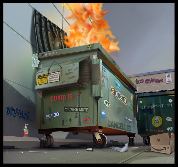 Dumpster Fire 2020 A dumpster on fire with details about life in 2020 dumpster fire stock illustrations