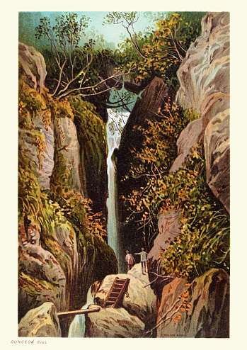Vintage illustration of Dungeon Ghyll waterfall, Ambleside, Lake District, 19th Century