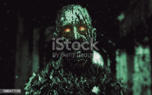 Dungeon zombie with glowing red eyes walking in hallway of abandoned house. Illustration in genre of horror. Scary monster character