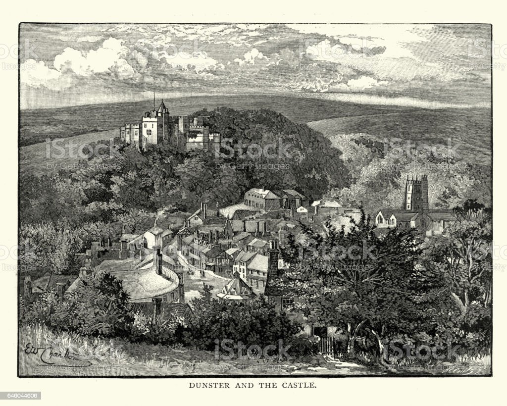 Dunster and its Castle, 1892 vector art illustration
