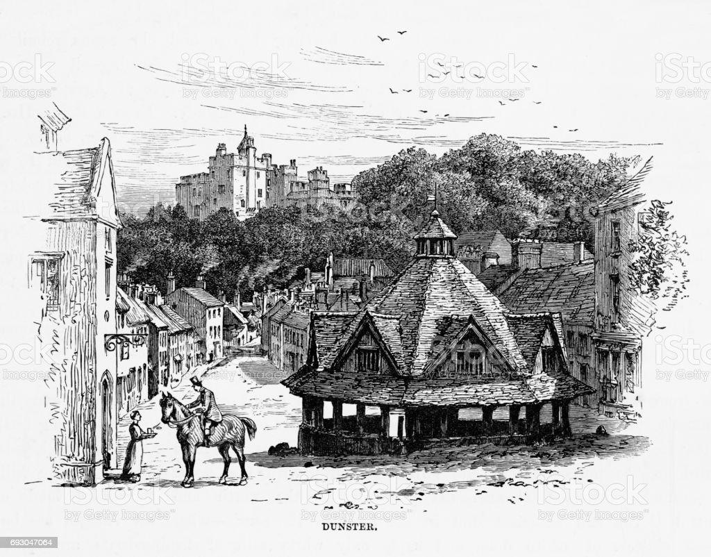 Dunster, Exmoor, England Victorian Engraving, 1840 vector art illustration