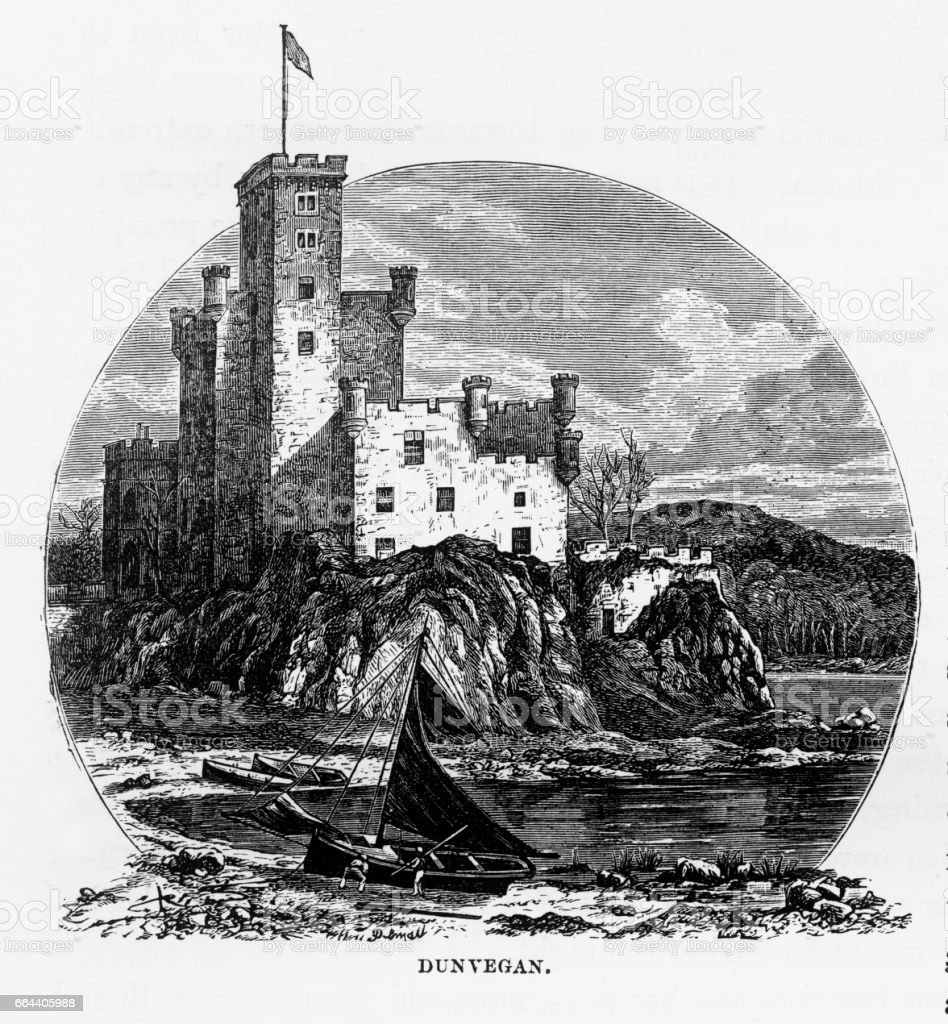 Dunvegan Castle, Isle of Skye in Hebrides, Scotland Victorian Engraving, 1840 vector art illustration