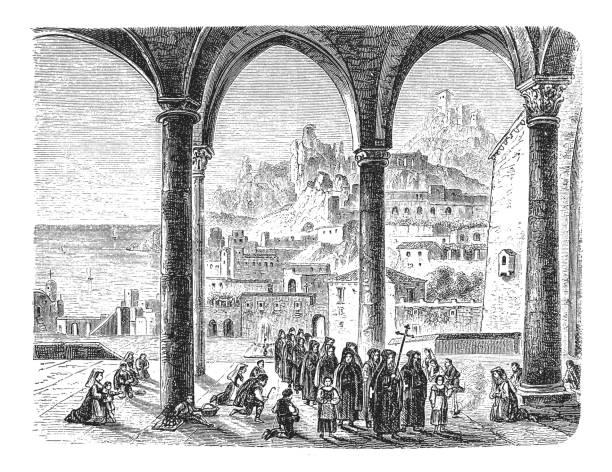 illustrazioni stock, clip art, cartoni animati e icone di tendenza di duomo di sant'andrea, amalfi - amalfi
