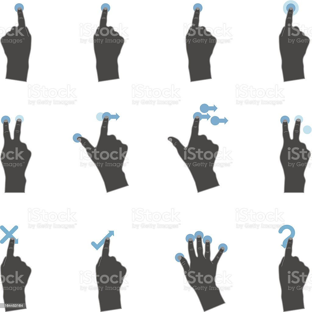Duotone Icons - More Touchpad Gestures royalty-free stock vector art