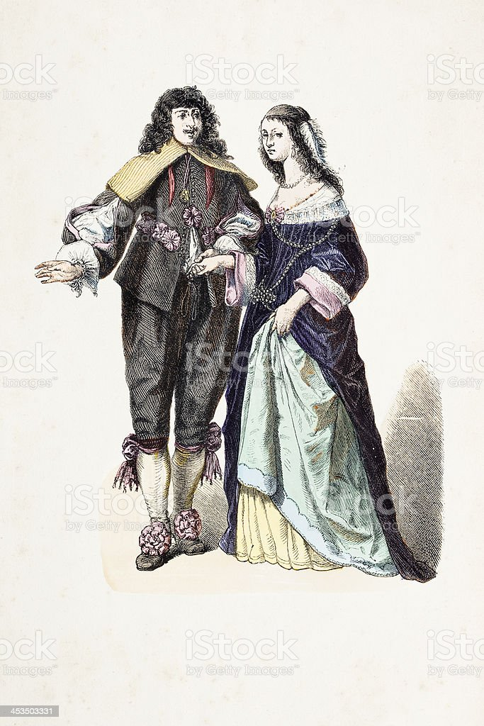 Dutch aristocratic couple in traditional clothing 17th century royalty-free stock vector art