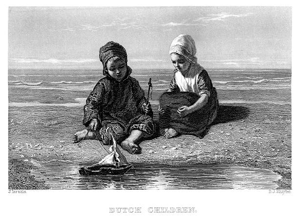 dutch children - dutch traditional clothing stock illustrations, clip art, cartoons, & icons